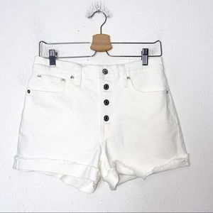 J Crew White High Rise Button Fly Denim Shorts